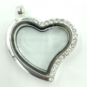 Heart living memory floating locket with rhinestones - 29cm - Silver plated